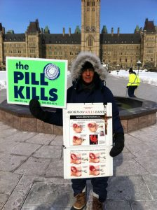 Donald Andre Bruneau, protesting the 'Culture of Death' on Parliament Hill, Ottawa, Canada.